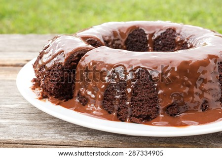Chocolate cake with chocolate sauce on white plate. On wood table and garden view. Home made. - stock photo