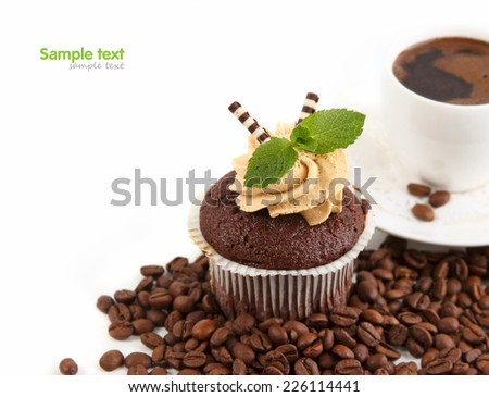 chocolate cake with coffee cup - stock photo