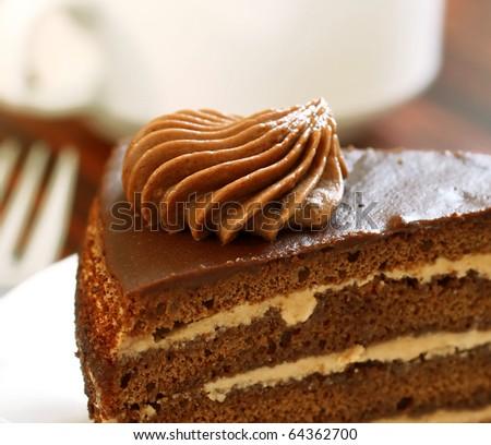 chocolate cake with creme - stock photo