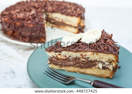 Chocolate cake with fresh banana