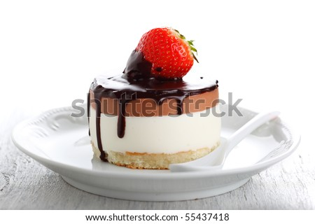 Chocolate Cake with Fresh Strawberry - stock photo