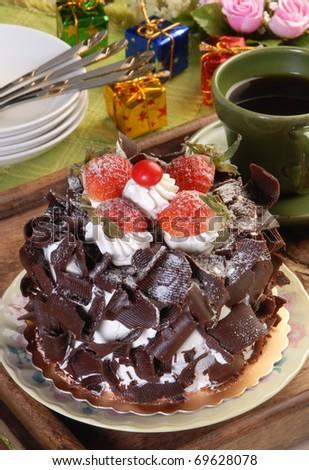 Chocolate Cake with Fresh Strawberry - stock photo