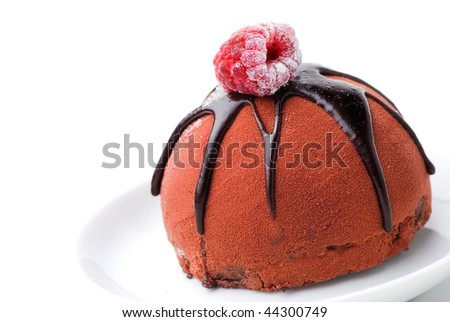 chocolate cake with raspberry topping - stock photo