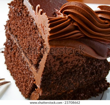 Chocolate cake with rich icing - stock photo