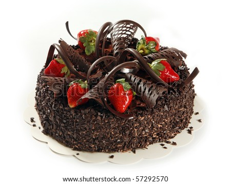 chocolate cake with strawberries - stock photo
