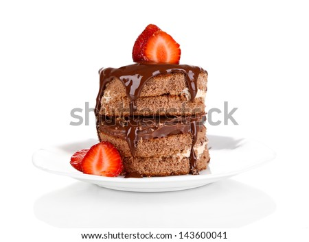 Chocolate cake with strawberry isolated on white - stock photo