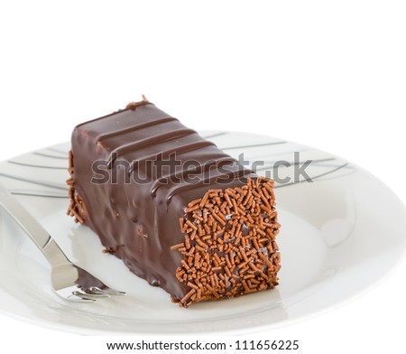 Chocolate cake with truffle decoration isolated - stock photo