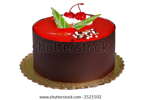 Chocolate Cake with two cherries on top - stock photo