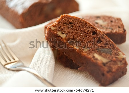 Chocolate cake with walnuts and Turkish delight