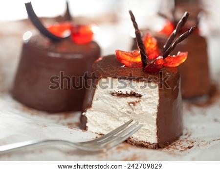 Chocolate cakes - shallow DOF. - stock photo