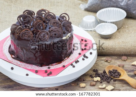 Chocolate  Cakes with Chocolate Chips - stock photo