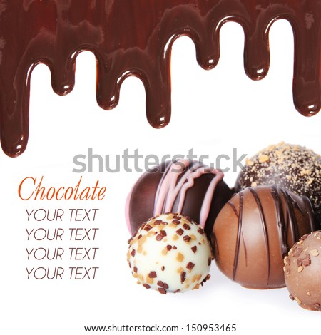 Chocolate candies collection. Beautiful Belgian truffles and chocolate streams isolated on white background - stock photo