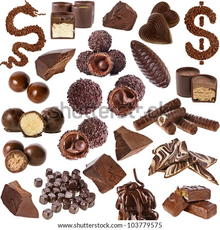 Chocolate candies Collection  isolated on white background - stock photo