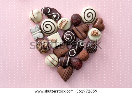 Chocolate candies heart - stock photo