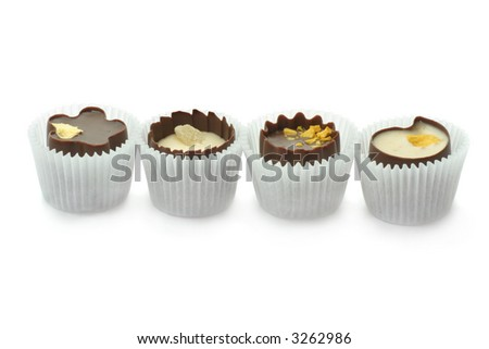 Chocolate candies isolated on white background. - stock photo