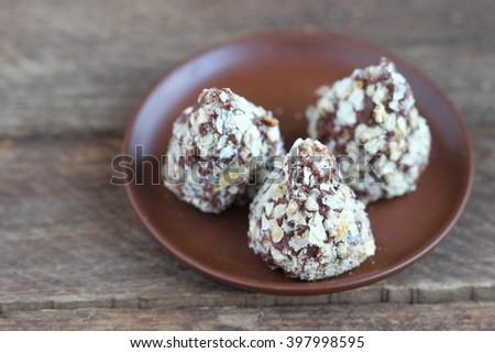 Chocolate candies with waffle crumbs  - stock photo
