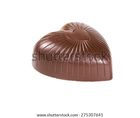 Chocolate candy in the shape of a heart isolated on white background - stock photo
