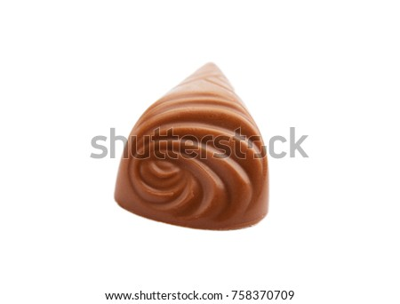chocolate candy on white background. Delicious chocolate pralines isolated
