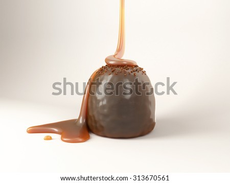 Chocolate Candy With Caramel In White Studio - stock photo