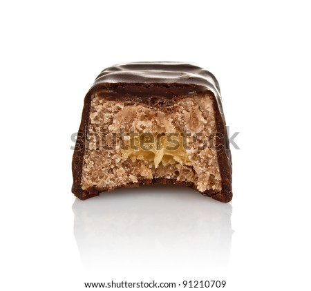 chocolate candy with filling isolated on white background - stock photo