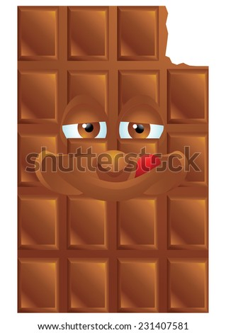 Chocolate cartoon character smiling isolated - stock photo