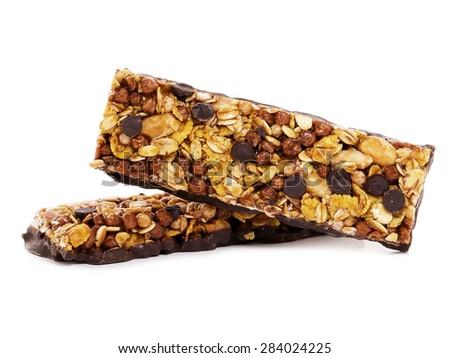 Chocolate cereal bars - stock photo