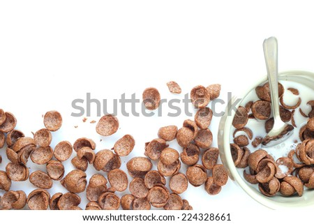chocolate cereals in a bowl. - stock photo