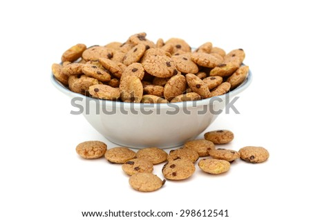 chocolate cereals in bowl isolated on white  - stock photo