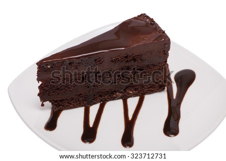 chocolate cheesecake with chocolate glaze on white background.  - stock photo