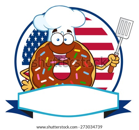 Chocolate Chef Donut Cartoon Character With Sprinkles Over A Circle Blank Label In Front Of Flag Of USA. Raster Illustration Isolated On White - stock photo