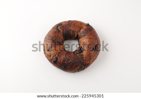 chocolate chip bagel bread isolated on white background