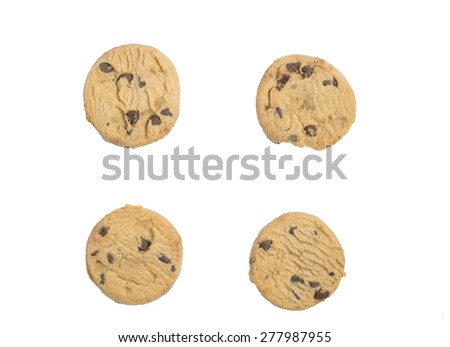 chocolate chip biscuit isolated