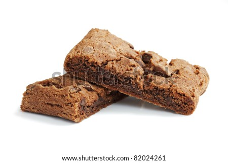 Chocolate chip brownie cookies isolated on white - stock photo