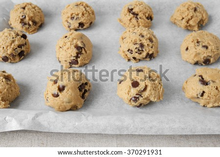 chocolate chip coconut cookies dough, selective focus - stock photo