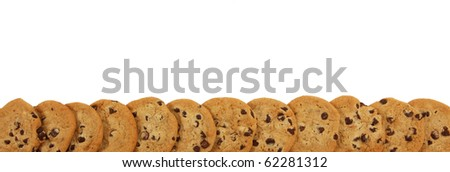 Chocolate Chip Cookie Boarder Over White - stock photo