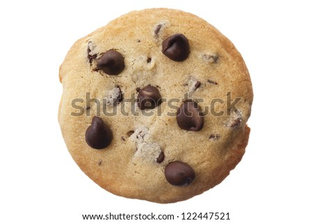Chocolate chip cookie in a close-up image - stock photo