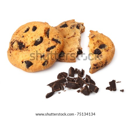 Chocolate chip cookie isolated - stock photo