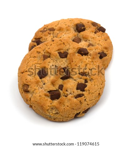 Chocolate Chip Cookie isolated on white - stock photo