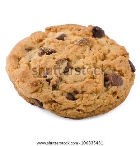 Chocolate Chip Cookie isolated on White background. - stock photo