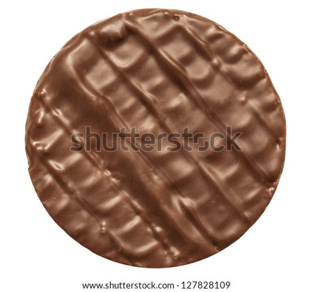 chocolate chip cookie isolated on white background - stock photo