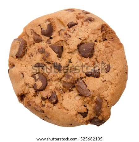 Chocolate chip cookie isolated on white background