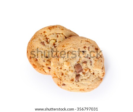 Chocolate Chip Cookie  isolated on white background this has clipping path.