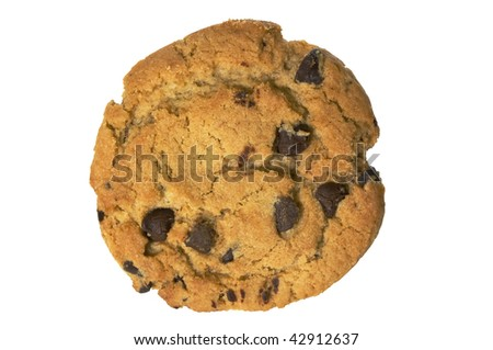 Chocolate chip cookie isolated on white with clipping path - stock photo