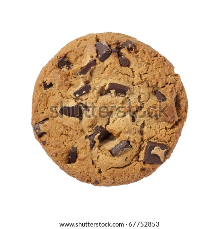Chocolate Chip Cookie isolated with a clipping path - stock photo