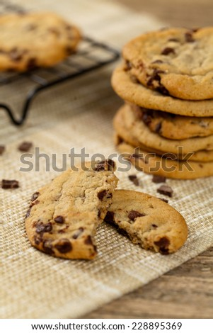 Chocolate Chip Cookie. Macro. Selective focus. Extreme shallow DOF. - stock photo