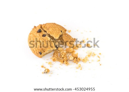 Chocolate chip cookie on white background - stock photo