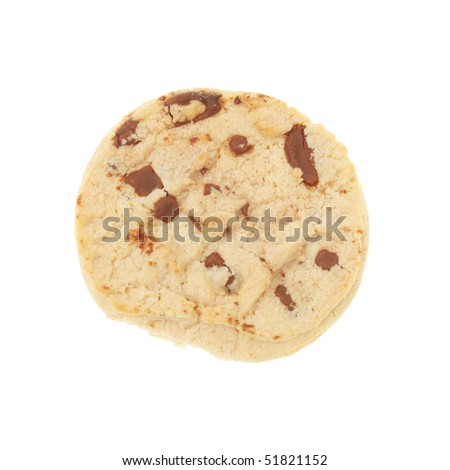Chocolate chip cookie viewed from above on white