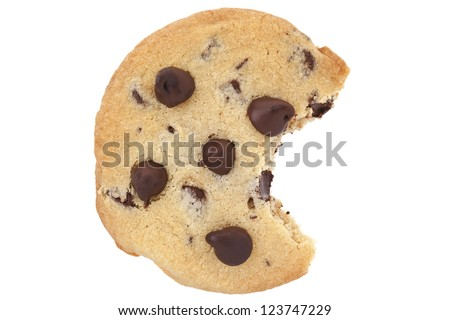 Chocolate chip cookie with a bite isolated on white background - stock photo