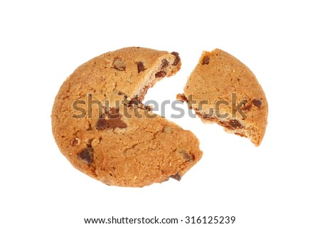 Chocolate chip cookie with a section cut out isolated against white - stock photo
