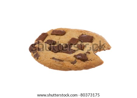 Chocolate Chip Cookie with Bite Eaten Isolated on a White Background - stock photo